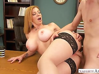 BIG BOOBS AT HARD WORK mature blonde