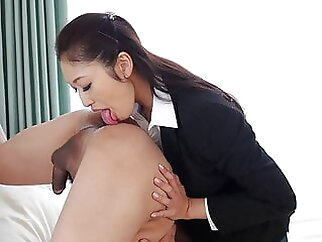 Japanese secretary, Reiko Kobayakawa came, uncensored blowjob asian