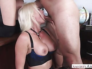 HOT teacher in threesome action (Gigi) cumshot blowjob