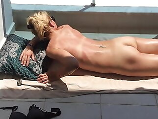 Exposed Voyeur Wife Is Tanning On Hotel Balcony on Holiday in Turkey blonde amateur