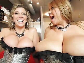 Samantha 38G and Sara Jay - Foursome in Silver Corsets bbw blonde